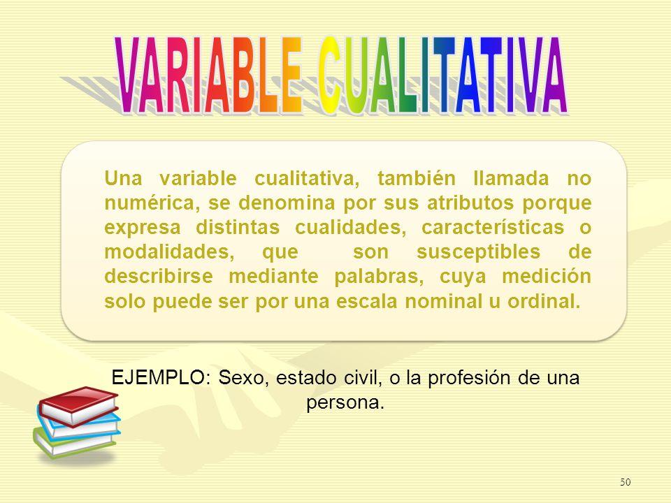 EJEMPLO: Sexo, estado civil, o la profesión de una persona.