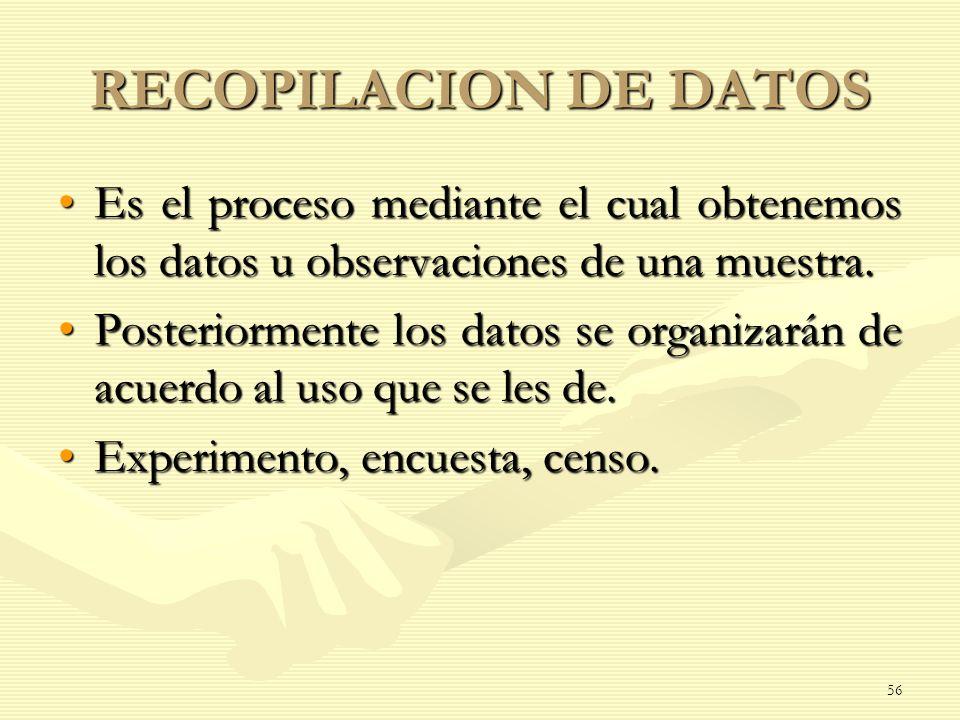 RECOPILACION DE DATOS Es el proceso mediante el cual obtenemos los datos u observaciones de una muestra.