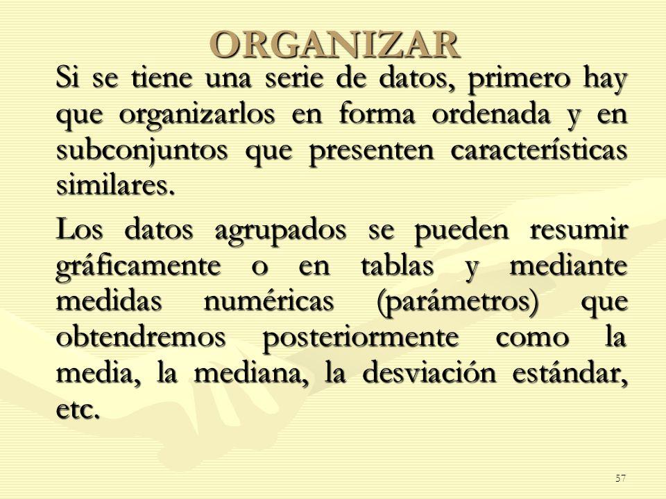 ORGANIZAR Si se tiene una serie de datos, primero hay que organizarlos en forma ordenada y en subconjuntos que presenten características similares.