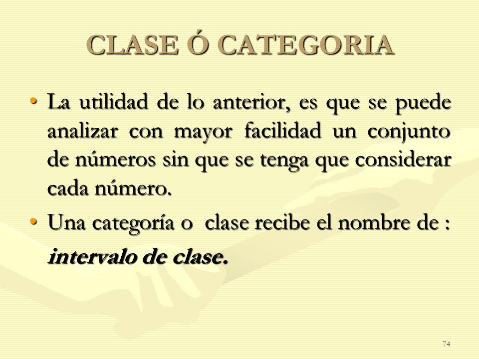 CLASE Ó CATEGORIA