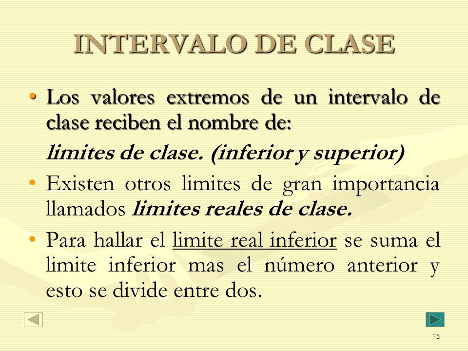 INTERVALO DE CLASE Los valores extremos de un intervalo de clase reciben el nombre de: limites de clase. (inferior y superior)