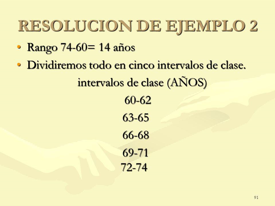 RESOLUCION DE EJEMPLO 2 Rango 74-60= 14 años