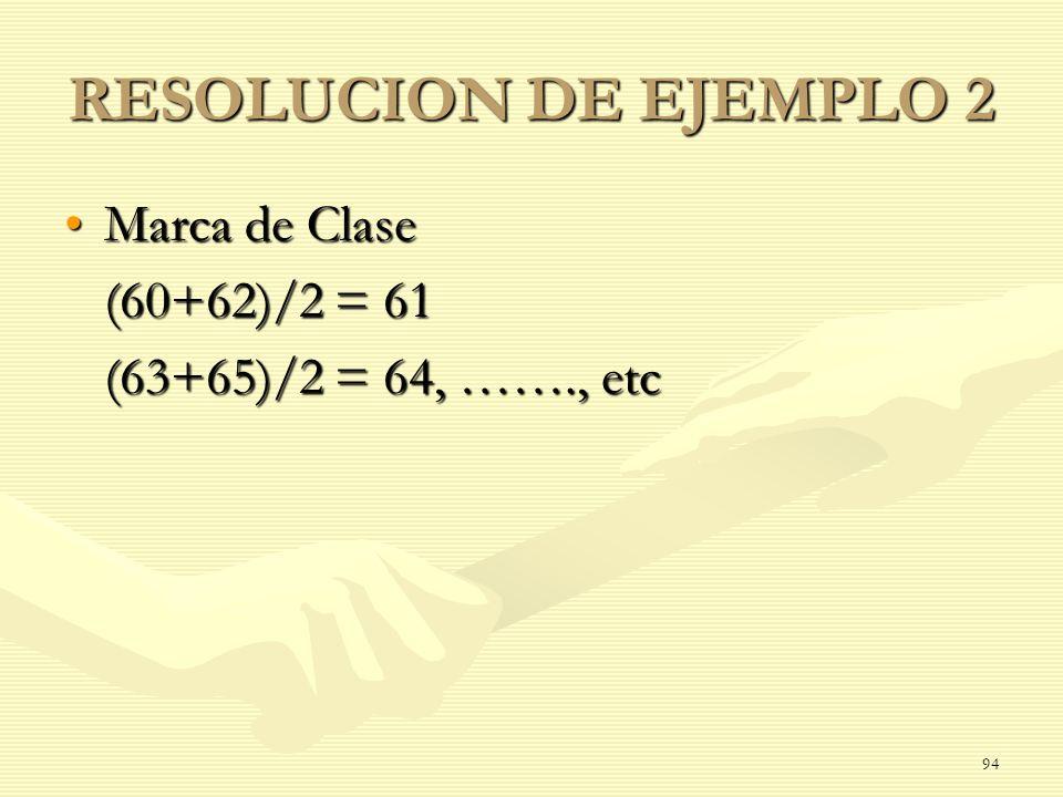RESOLUCION DE EJEMPLO 2 Marca de Clase (60+62)/2 = 61