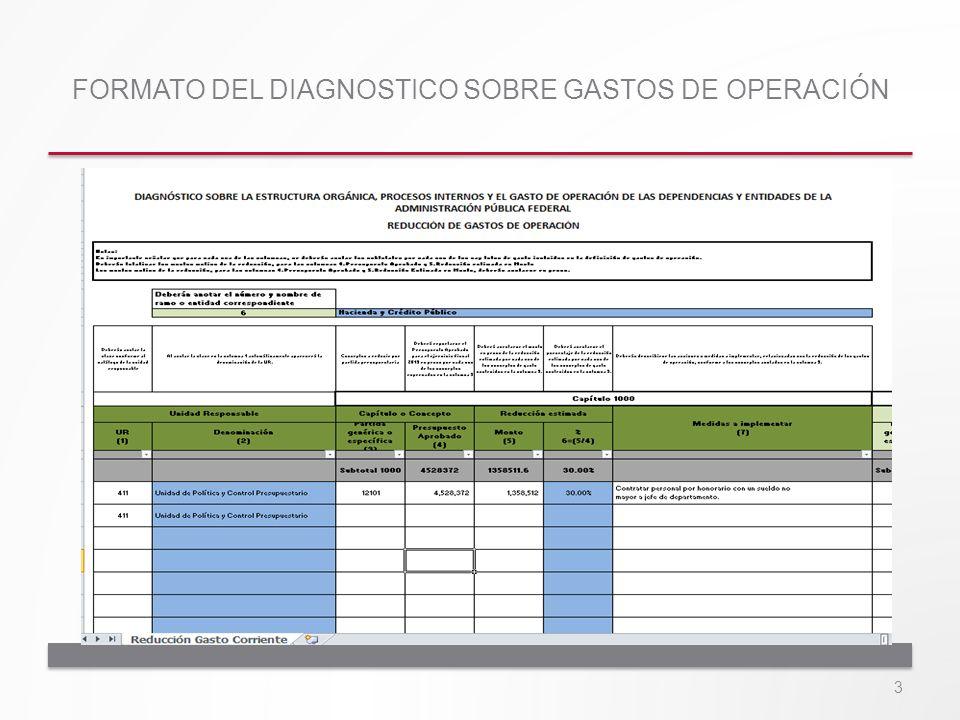 FORMATO DEL DIAGNOSTICO SOBRE GASTOS DE OPERACIÓN