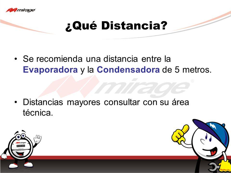 ¿Qué Distancia. Se recomienda una distancia entre la Evaporadora y la Condensadora de 5 metros.