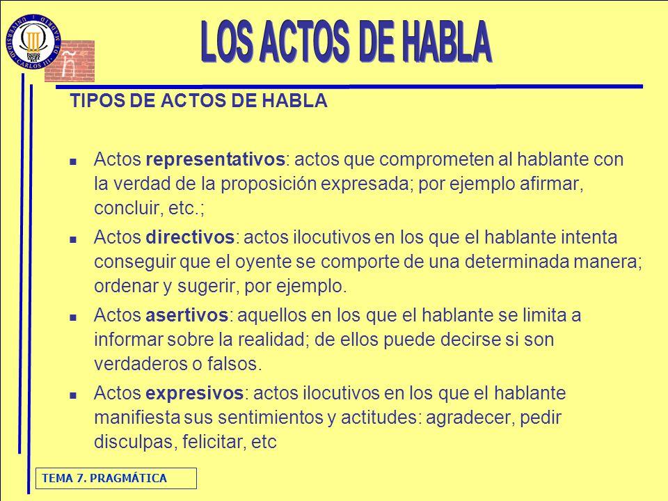 LOS ACTOS DE HABLA TIPOS DE ACTOS DE HABLA