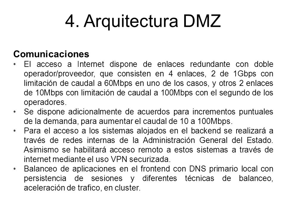 4. Arquitectura DMZ Comunicaciones