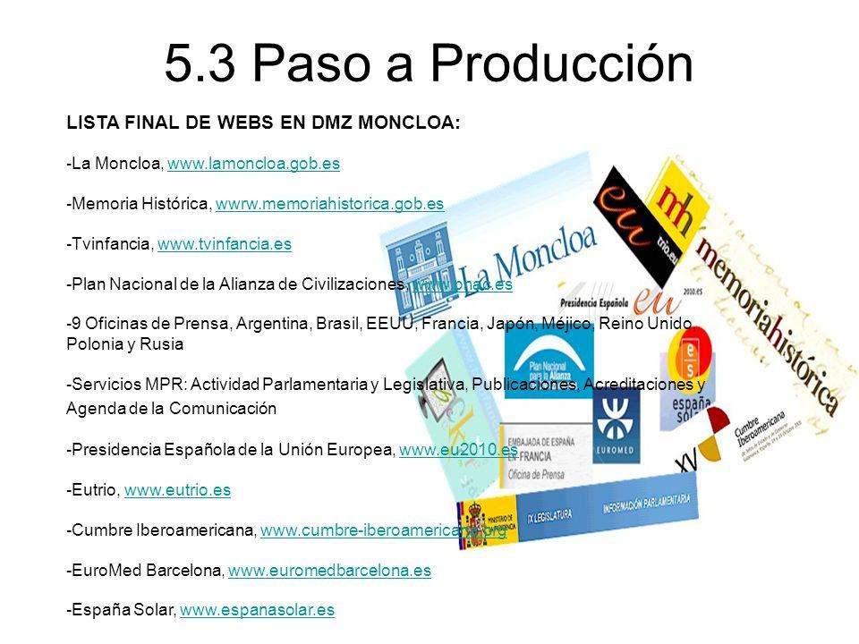 5.3 Paso a Producción LISTA FINAL DE WEBS EN DMZ MONCLOA: