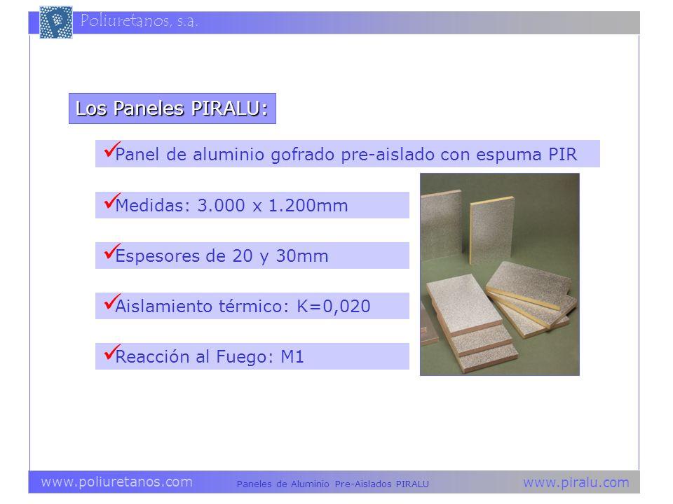 Los Paneles PIRALU: Panel de aluminio gofrado pre-aislado con espuma PIR. Medidas: 3.000 x 1.200mm.