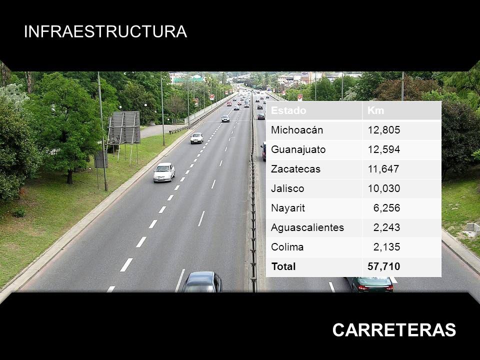 CARRETERAS INFRAESTRUCTURA Estado Km Michoacán 12,805 Guanajuato