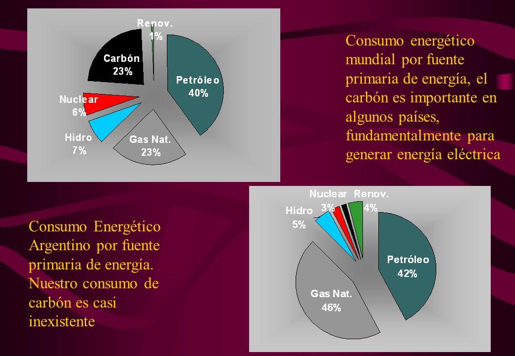 Consumo energético mundial por fuente primaria de energía, el carbón es importante en algunos países, fundamentalmente para generar energía eléctrica