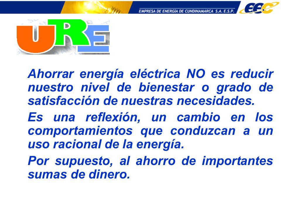 Ahorrar energía eléctrica NO es reducir nuestro nivel de bienestar o grado de satisfacción de nuestras necesidades.