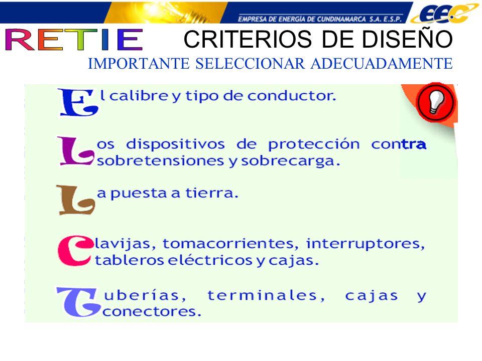 CRITERIOS DE DISEÑO IMPORTANTE SELECCIONAR ADECUADAMENTE