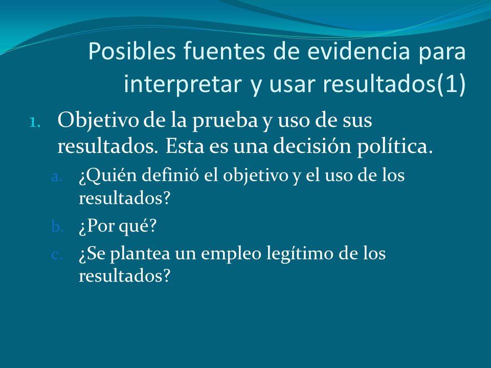 Posibles fuentes de evidencia para interpretar y usar resultados(1)
