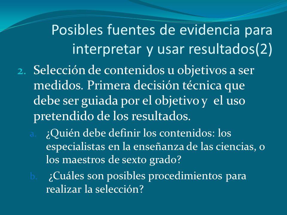Posibles fuentes de evidencia para interpretar y usar resultados(2)