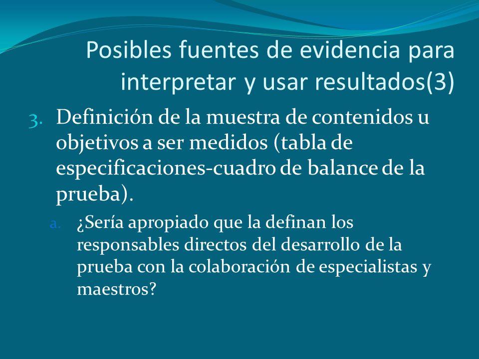 Posibles fuentes de evidencia para interpretar y usar resultados(3)