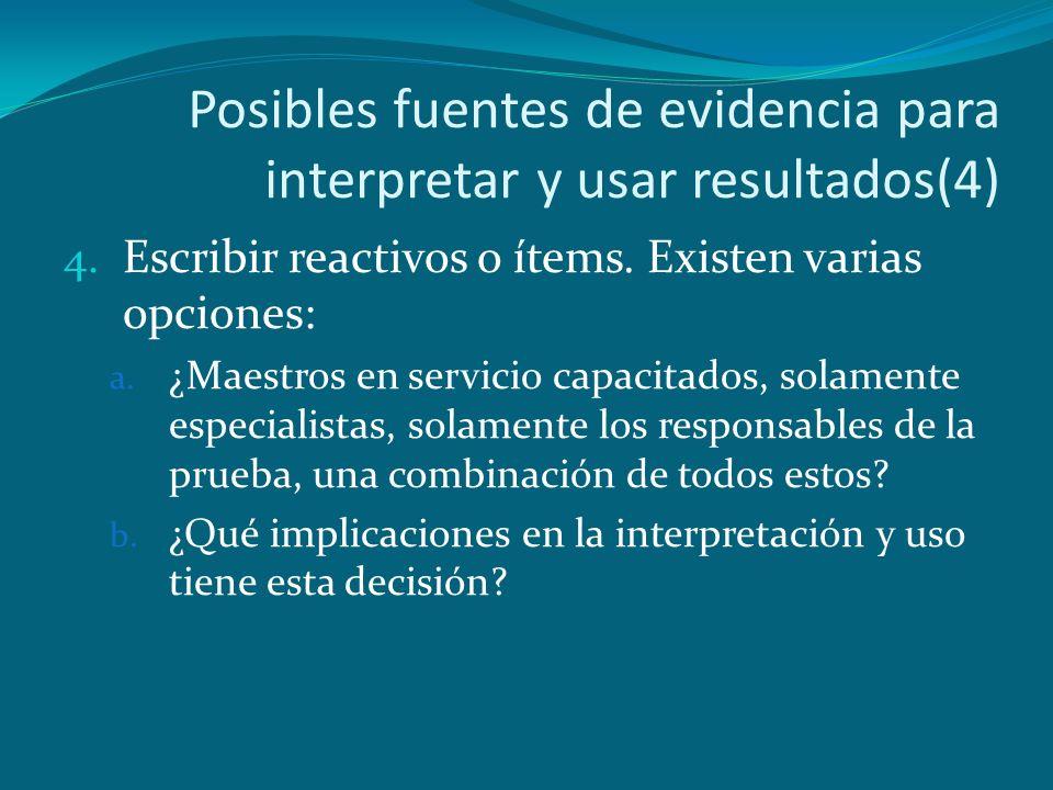 Posibles fuentes de evidencia para interpretar y usar resultados(4)