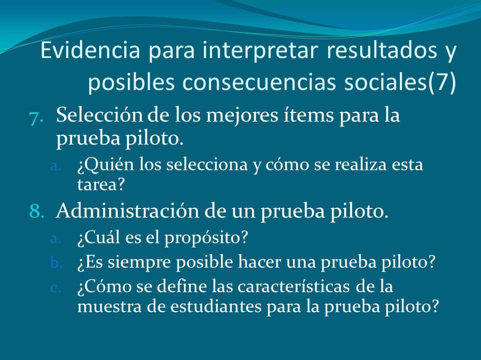 Evidencia para interpretar resultados y posibles consecuencias sociales(7)