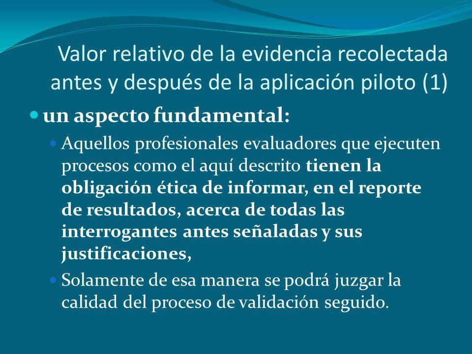 Valor relativo de la evidencia recolectada antes y después de la aplicación piloto (1)