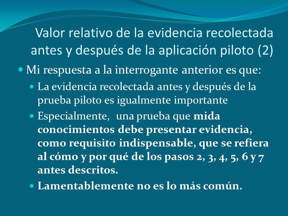Valor relativo de la evidencia recolectada antes y después de la aplicación piloto (2)