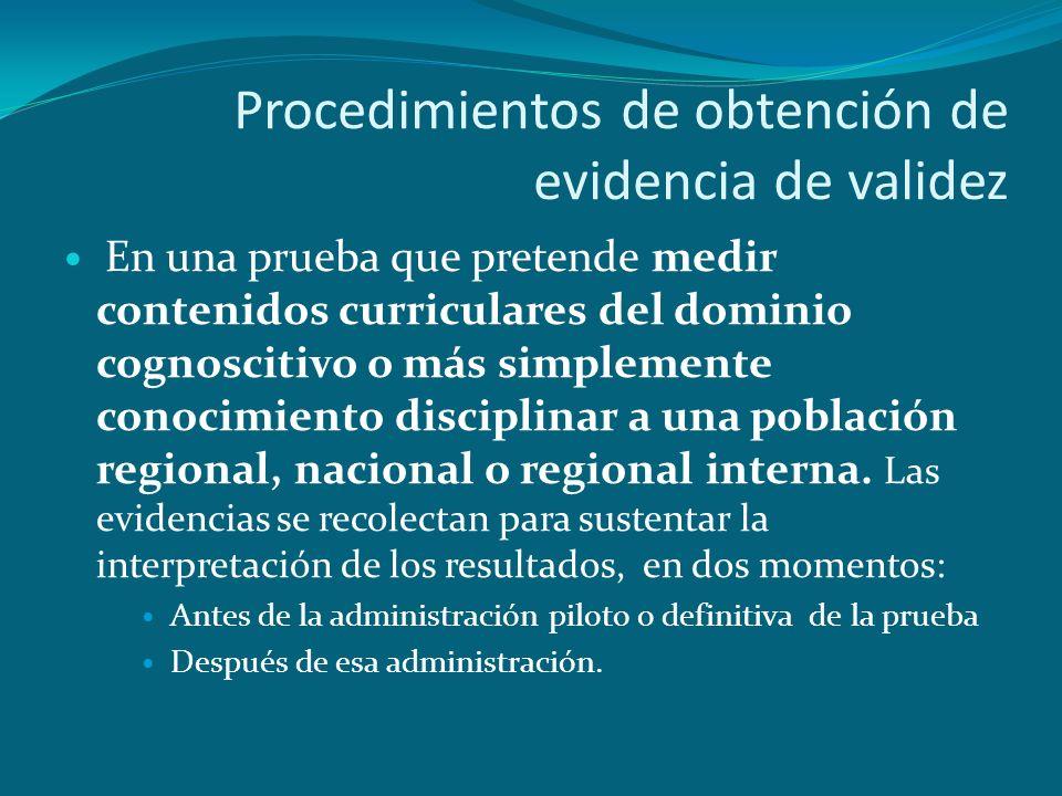 Procedimientos de obtención de evidencia de validez