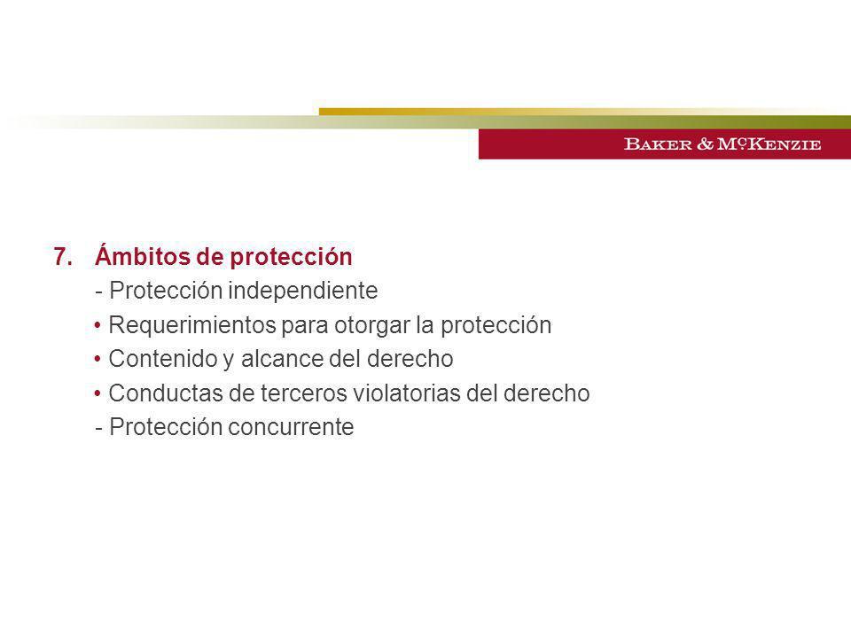 - Protección independiente Requerimientos para otorgar la protección