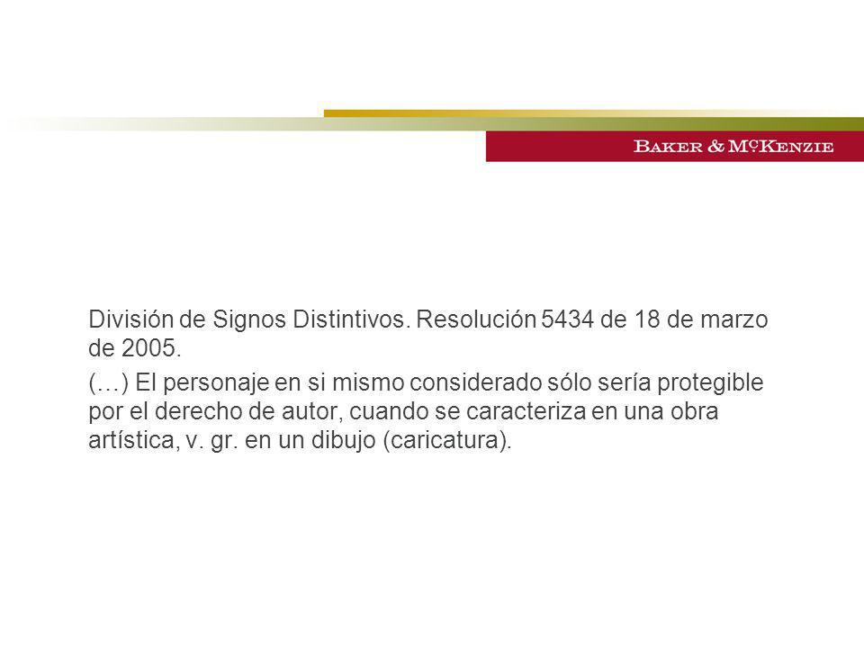 División de Signos Distintivos. Resolución 5434 de 18 de marzo de 2005.