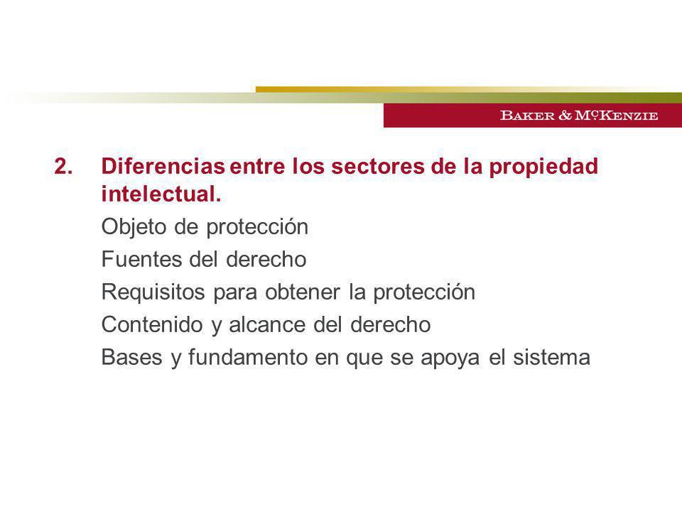 2. Diferencias entre los sectores de la propiedad intelectual.