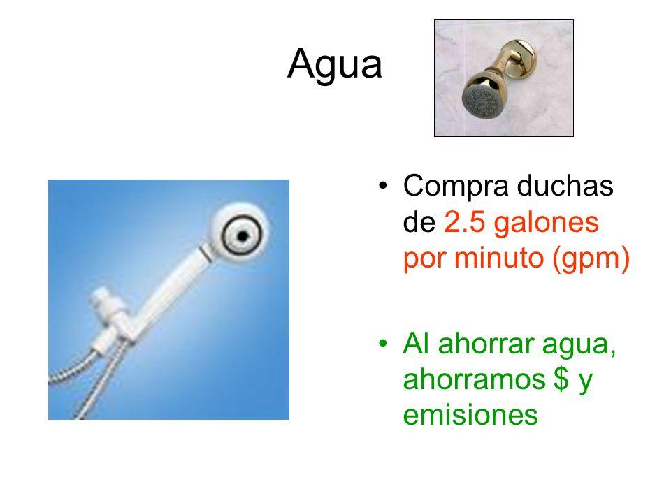 Agua Compra duchas de 2.5 galones por minuto (gpm)