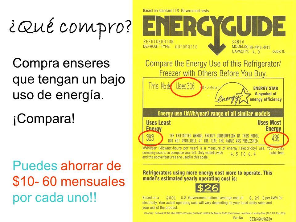 ¿Qué compro Compra enseres que tengan un bajo uso de energía.