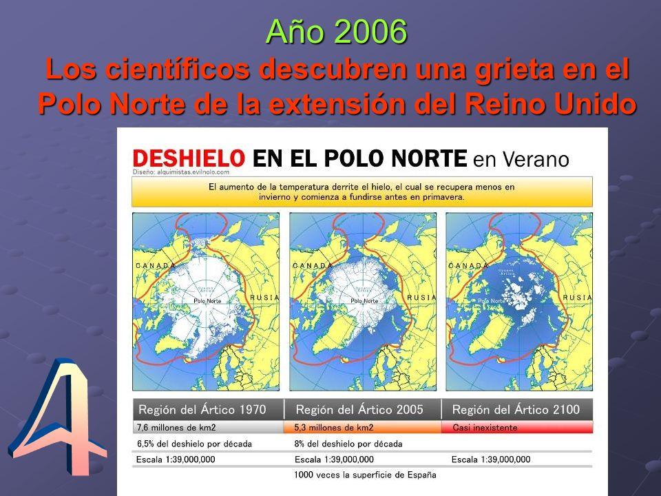 Año 2006 Los científicos descubren una grieta en el Polo Norte de la extensión del Reino Unido