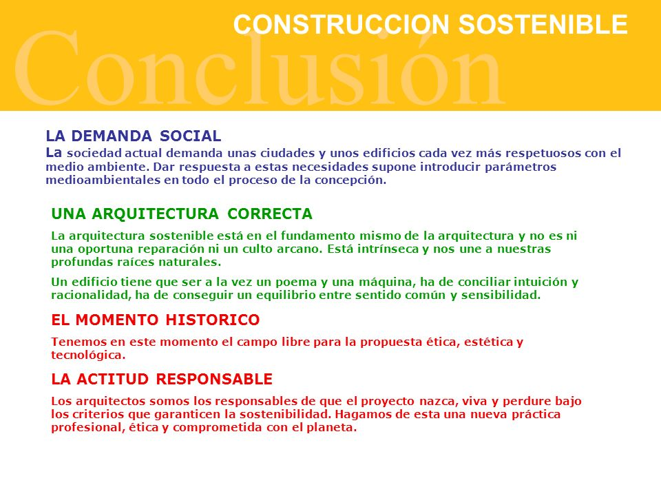 Conclusión CONSTRUCCION SOSTENIBLE