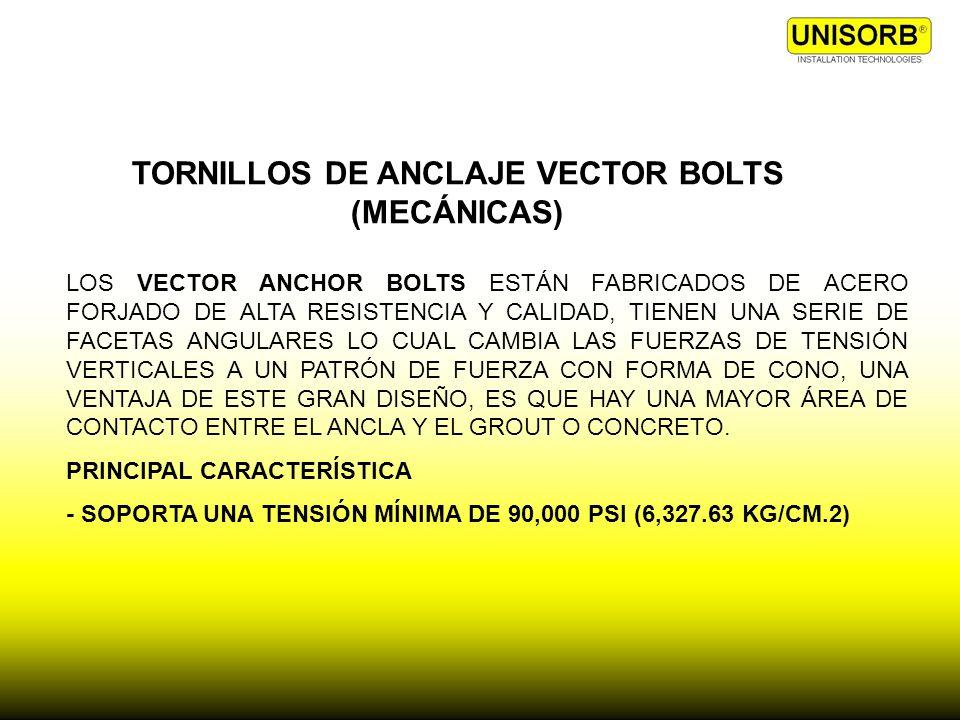 TORNILLOS DE ANCLAJE VECTOR BOLTS (MECÁNICAS)