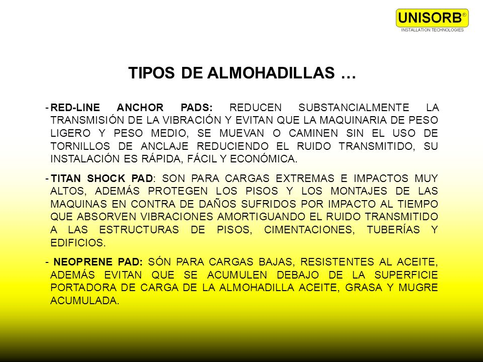 TIPOS DE ALMOHADILLAS …