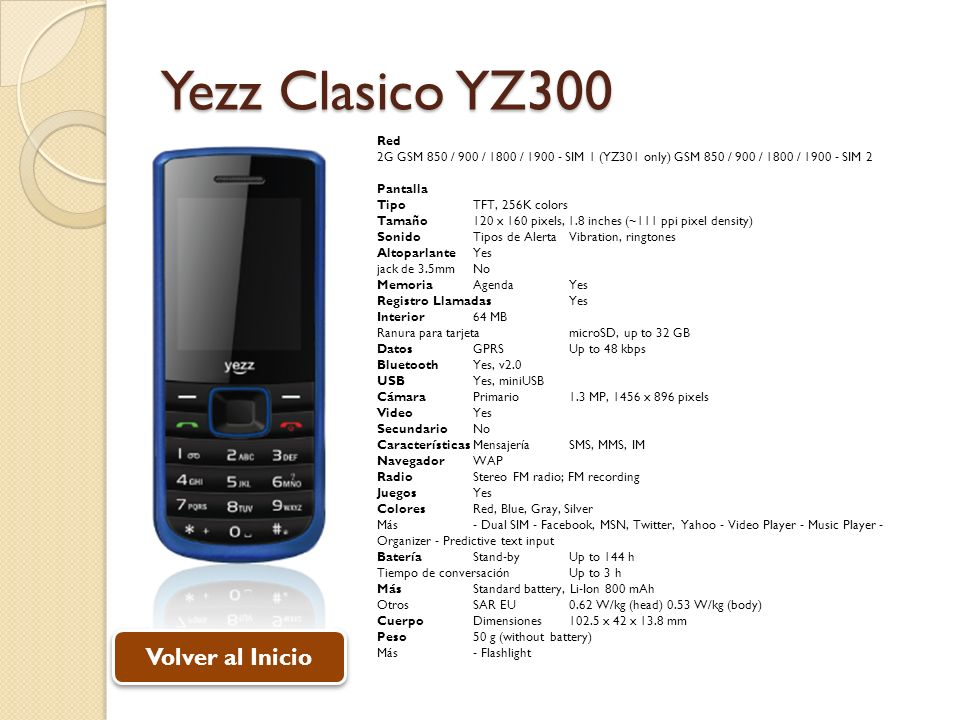 Yezz Clasico YZ300 Volver al Inicio Red