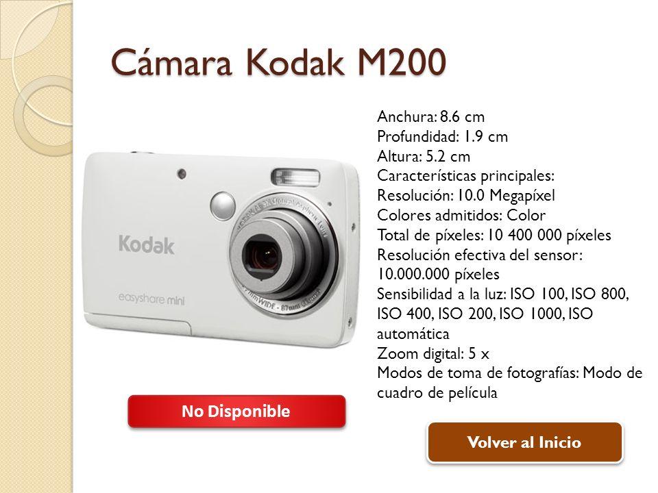 Cámara Kodak M200 No Disponible Anchura: 8.6 cm Profundidad: 1.9 cm