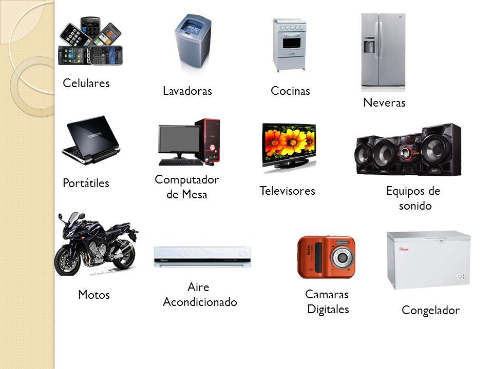 Celulares Lavadoras. Cocinas. Neveras. Computador de Mesa. Portátiles. Televisores. Equipos de sonido.
