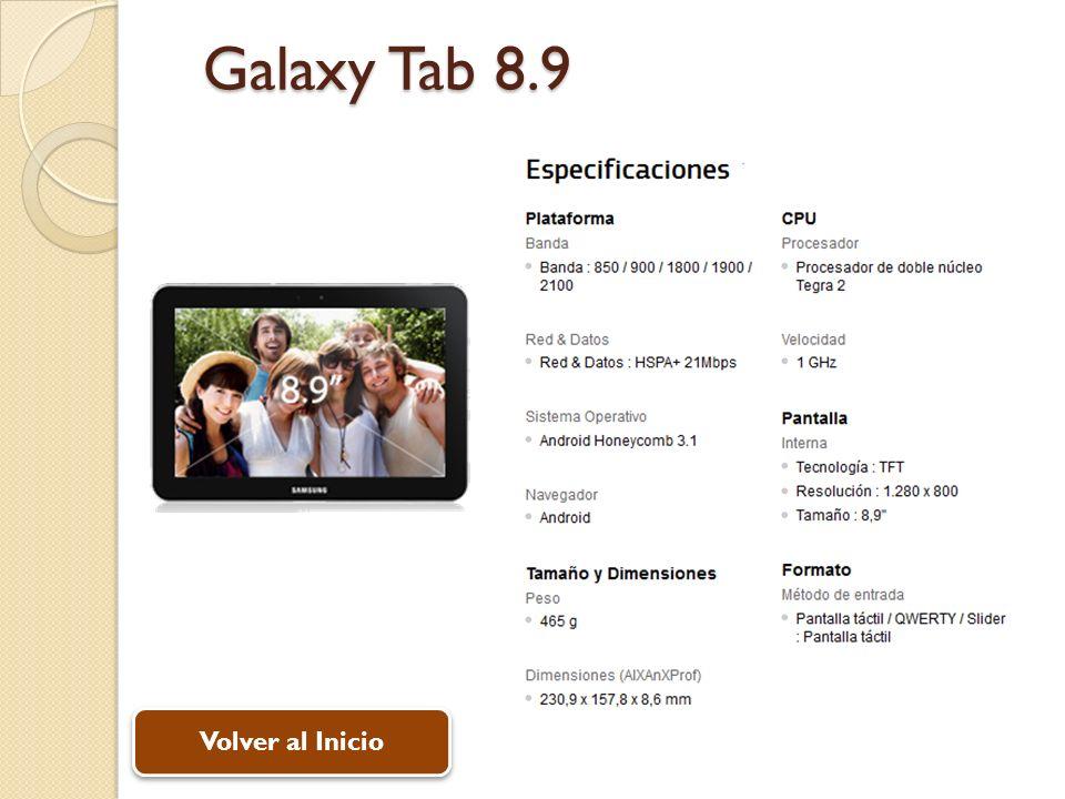 Galaxy Tab 8.9 Volver al Inicio