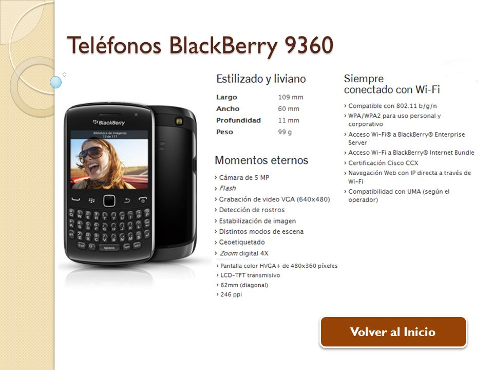 Teléfonos BlackBerry 9360 Volver al Inicio