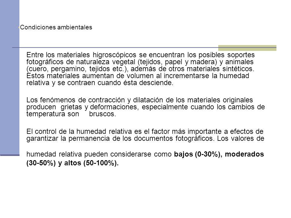 humedad relativa pueden considerarse como bajos (0-30%), moderados