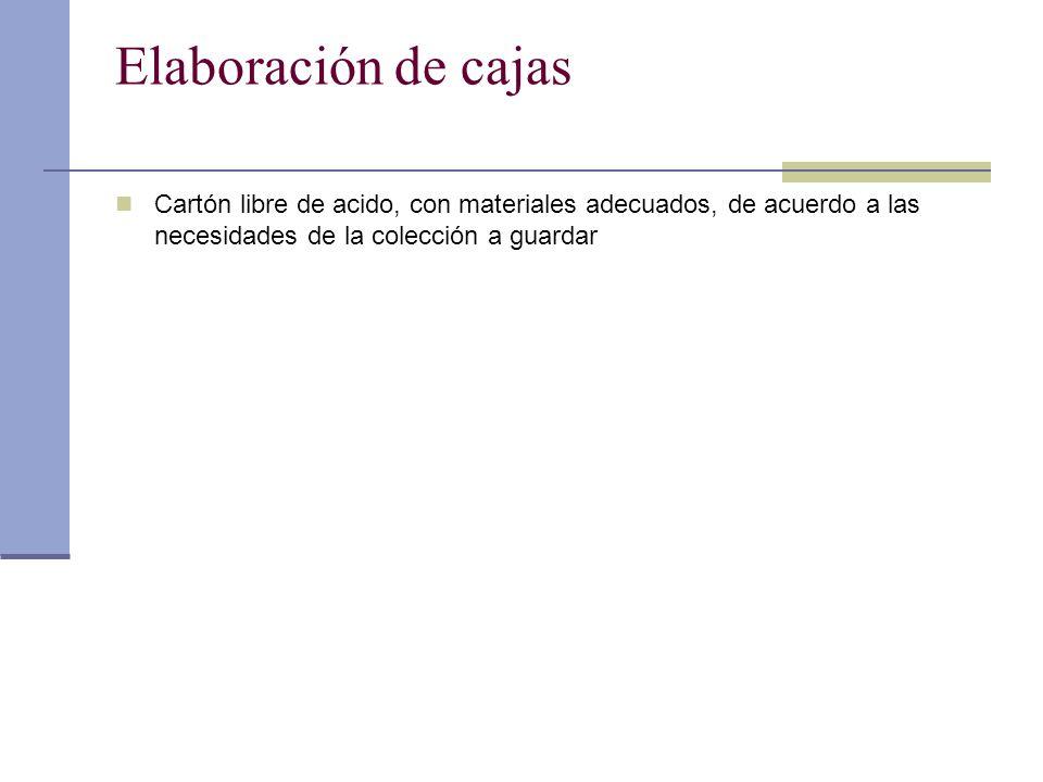 Elaboración de cajas Cartón libre de acido, con materiales adecuados, de acuerdo a las necesidades de la colección a guardar.