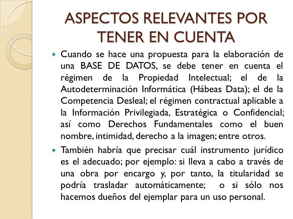 ASPECTOS RELEVANTES POR TENER EN CUENTA