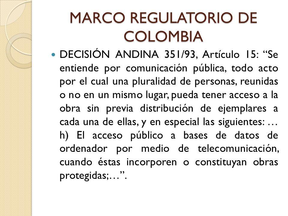 MARCO REGULATORIO DE COLOMBIA