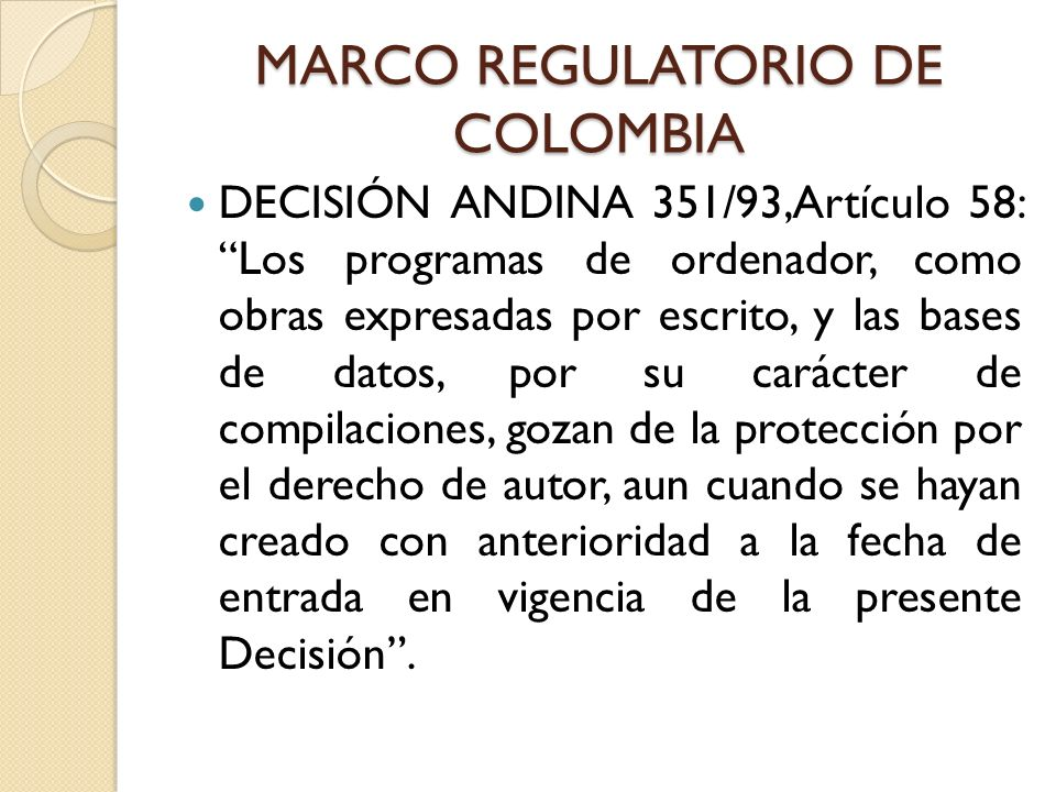 MARCO REGULATORIO DE COLOMBIA