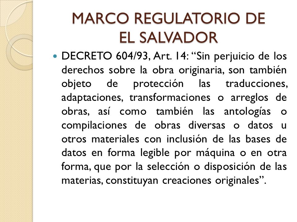 MARCO REGULATORIO DE EL SALVADOR