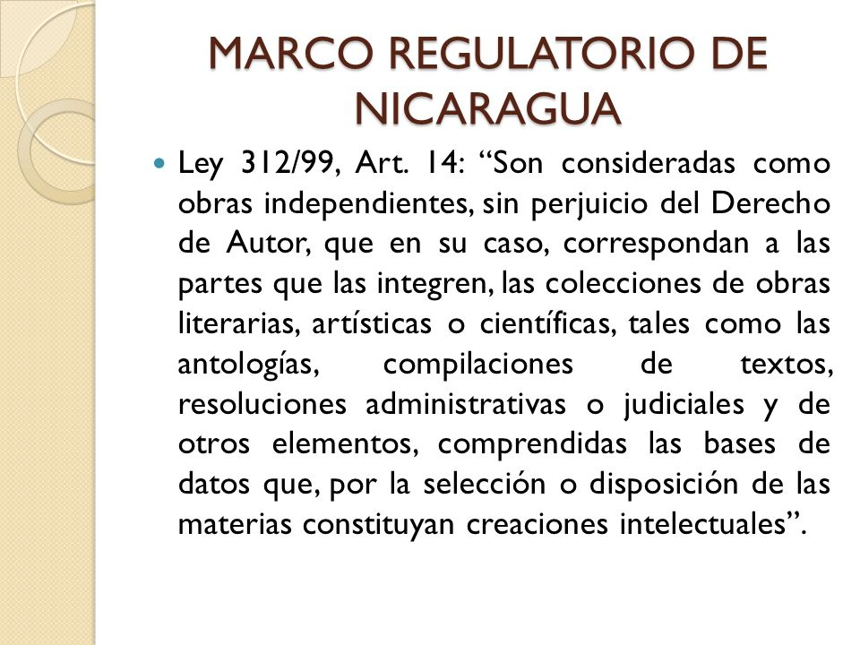 MARCO REGULATORIO DE NICARAGUA