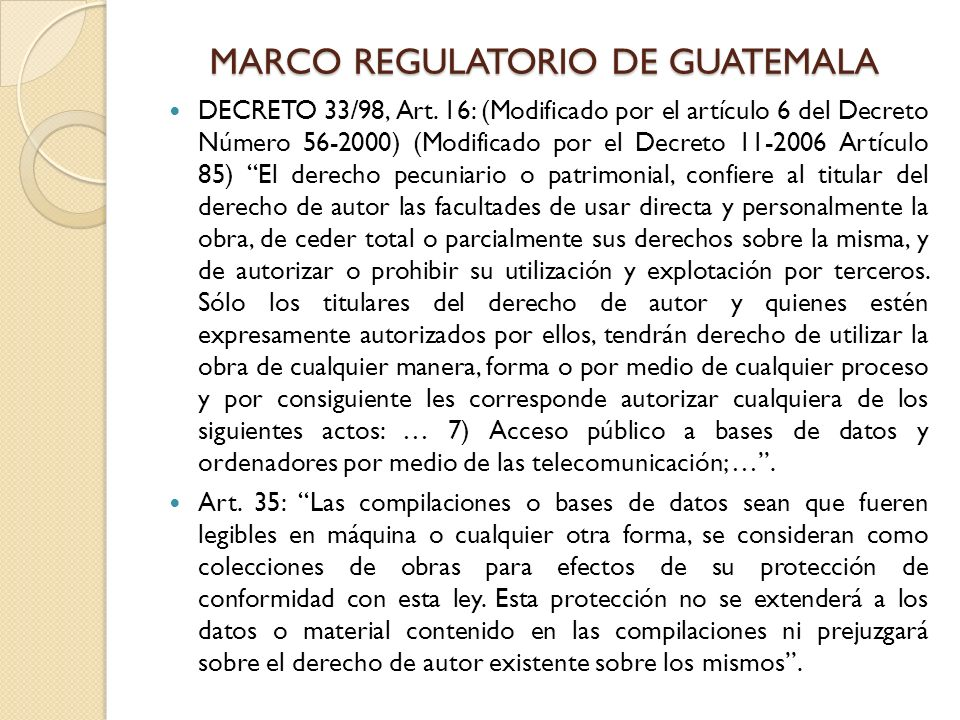 MARCO REGULATORIO DE GUATEMALA