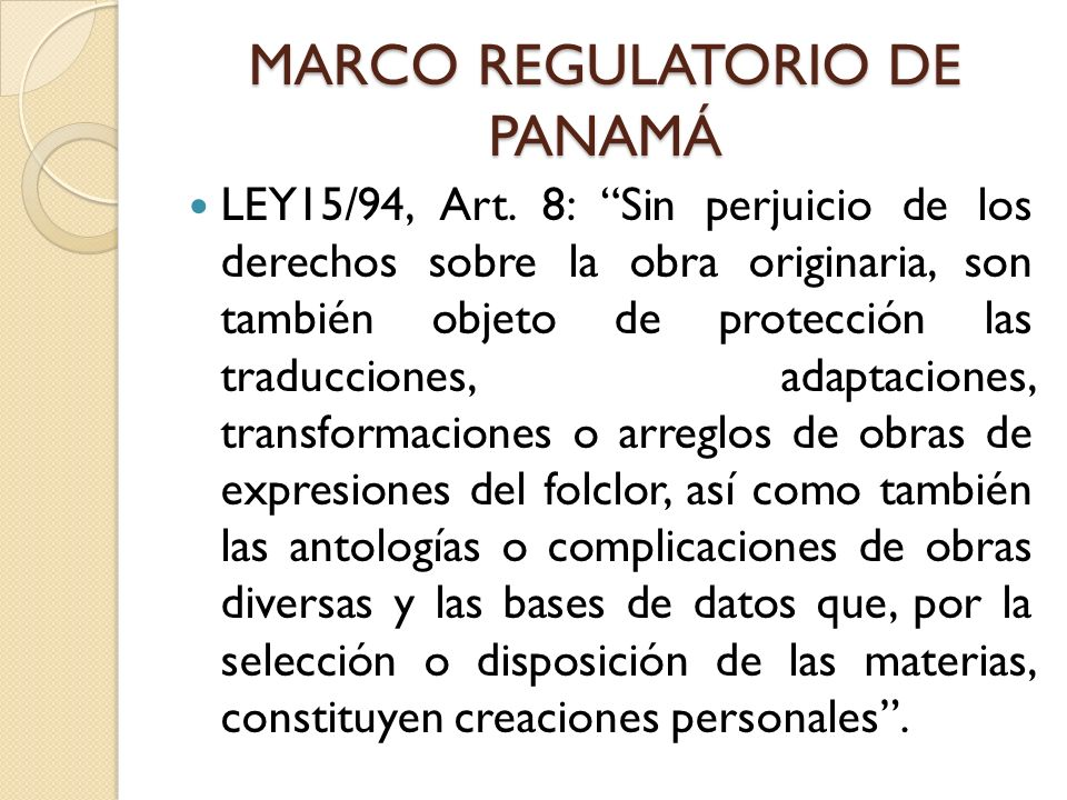MARCO REGULATORIO DE PANAMÁ