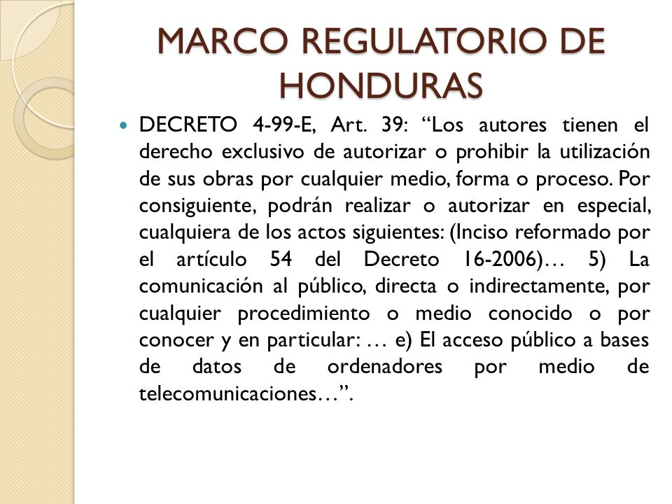MARCO REGULATORIO DE HONDURAS