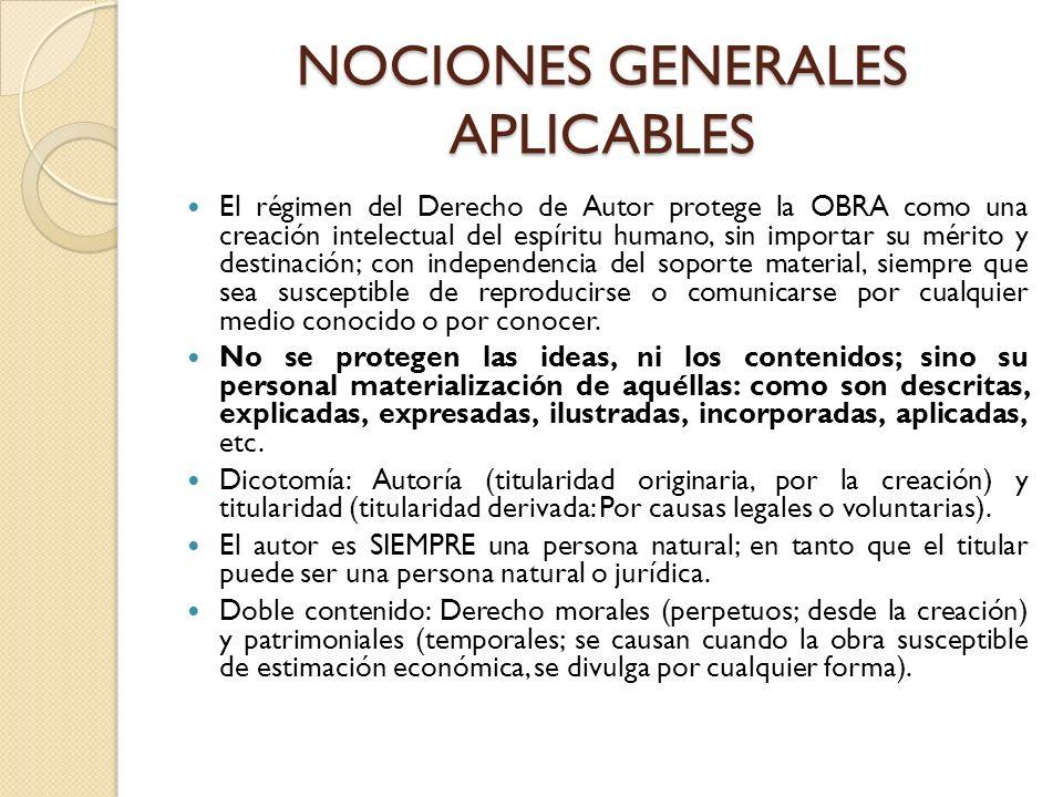 NOCIONES GENERALES APLICABLES